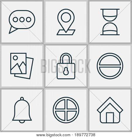 Icons Set. Collection Of Positive, Alert, Landscape Photo Elements. Also Includes Symbols Such As Pinpoint, Positive, Siren.