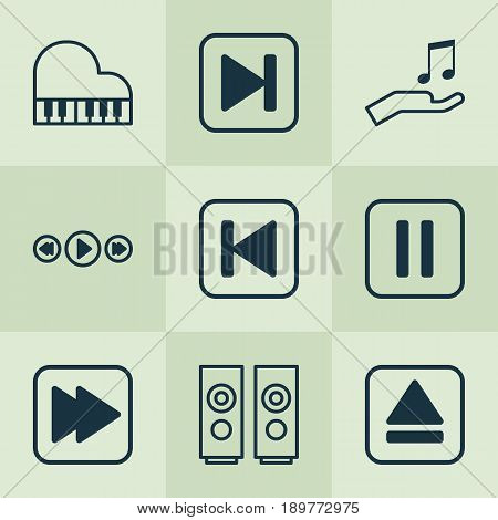 Music Icons Set. Collection Of Extract Device, Mute Song, Run Song Back And Other Elements. Also Includes Symbols Such As Sell, Rewind, Keyboard.