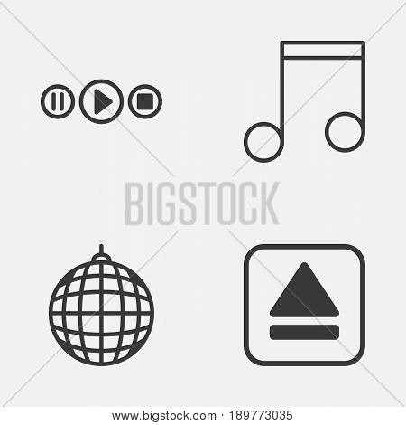 Audio Icons Set. Collection Of Extract Device, Dance Club, Note And Other Elements. Also Includes Symbols Such As Disco, Extract, Melody.