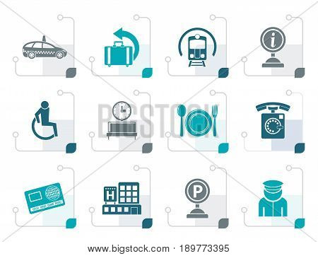 Stylized airport, travel and transportation icons 2 - vector icon set