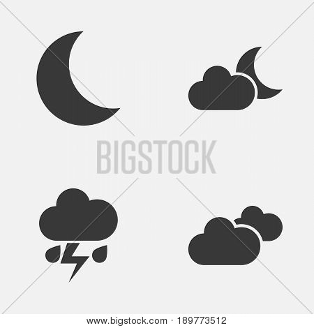 Climate Icons Set. Collection Of Flash, Moonlight, Weather And Other Elements. Also Includes Symbols Such As Night, Light, Crescent.