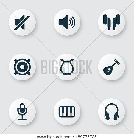 Multimedia Icons Set. Collection Of Megaphone, Silence, Mike And Other Elements. Also Includes Symbols Such As Instrument, Silent, Megaphone.
