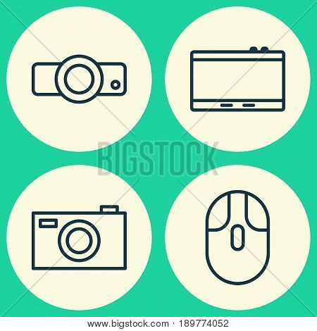 Icons Set. Collection Of Digital Camera, Presentation, Gadget And Other Elements. Also Includes Symbols Such As Tablet, Cursor, Presentation.