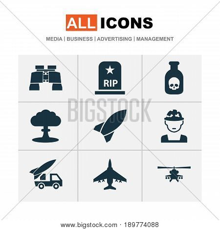 Warfare Icons Set. Collection Of Glass, Atom, Military And Other Elements. Also Includes Symbols Such As Atom, Helicopter, Artillery.