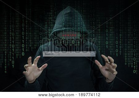 Hacker using adware to hijack computer laptop control search engine to spy and steal information. Fireball adware internet security cyber attack hijacking concept.