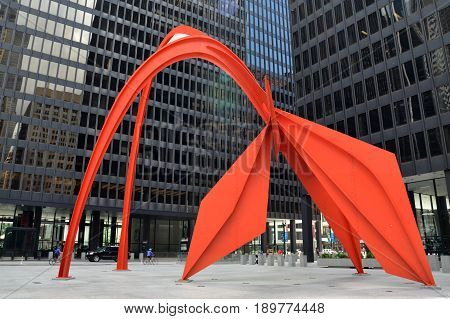 CHICAGO - MAY 29: Flamingo in the Federal Plaza in Chicago is shown here on May 29 2016. The stabile was constructed by American sculptor Alexander Calder under the Percent for Art program.