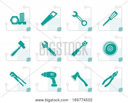 Stylized different kind of tools icons - vector icon set