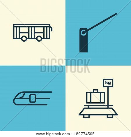 Vehicle Icons Set. Collection Of Baggage, Vehicle, Roadblock And Other Elements. Also Includes Symbols Such As Weight, Metro, Train.