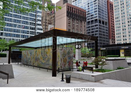 CHICAGO - MAY 29: The Four Seasons mosaic by Marc Chagall in the Exelon Plaza in Chicago is shown here on May 29 2016. The mosaic was dedicated on September 27 1974.