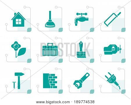 Stylized construction and do it yourself icons - vector icon set