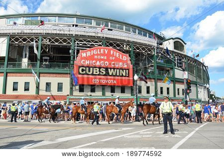 CHICAGO - MAY 29: Wrigley Field home of the Chicago Cubs is shown here on May 29 2016. Fans are celebrating their 7-2 win against the Philadelphia Phillies.