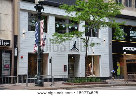 CHICAGO - MAY 29: The Michael Jordan Store in Chicago is shown here on May 29 2016. It sells the Nike Jordan brand and includes a basketball half-court for area students.