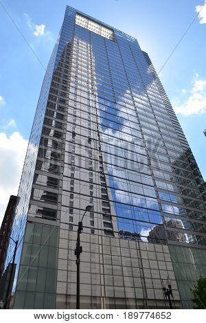 CHICAGO - MAY 29: One South Dearborn building in Chicago is shown here on May 29 2016. This 40-story skyscraper is LEED Silver Certified by the US Green Building Council
