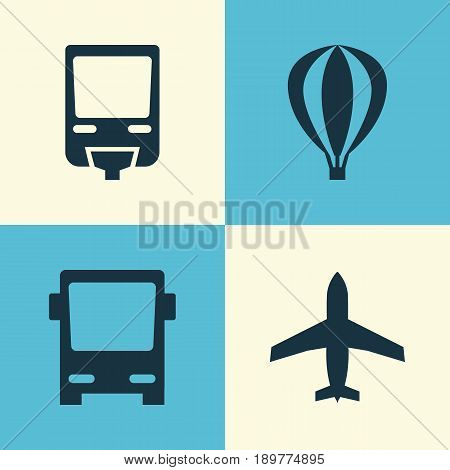 Shipment Icons Set. Collection Of Aircraft, Railroad, Airship And Other Elements. Also Includes Symbols Such As Monorail, Railroad, Airplane.