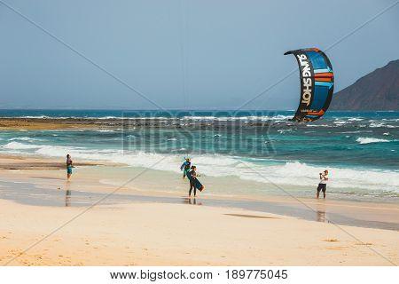Corralejo, Fuerteventura, April 01, 2017: Unknown Kitesurfers On A Beach In Corralejo, Fuerteventura