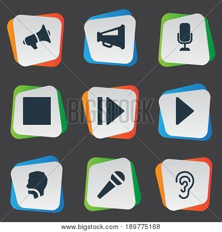 Vector Illustration Set Of Simple Radio Icons. Elements Studio Microphone, Loudspeaker, Speech And Other Synonyms Communication, Command And Loud.