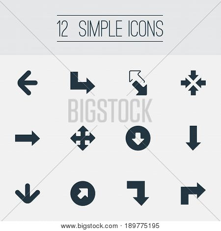 Vector Illustration Set Of Simple Cursor Icons. Elements Downwards Pointing, Right Direction, Crossing Sign And Other Synonyms Within, Upload And Down.