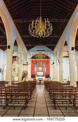 La Oliva, Fuerteventura, Spain, April 03, 2017: Interior Of Church Of Our Lady Of Candelaria In La O