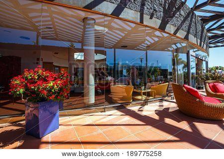Playa Blanca, Lanzarote, April 04, 2017: Buildings And Area Hotel In Playa Blanca, Lanzarote