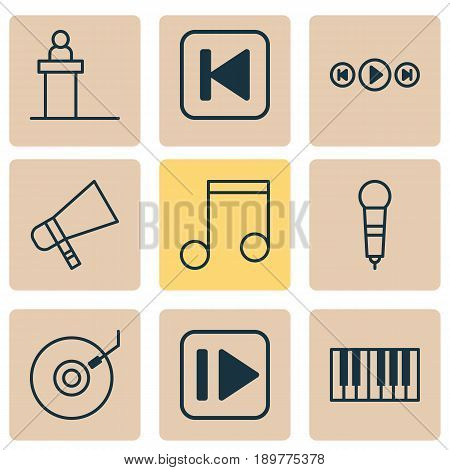 Multimedia Icons Set. Collection Of Note, Run Song Back, Following Music And Other Elements. Also Includes Symbols Such As Melody, Forward, Audio.