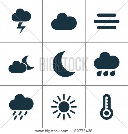Air Icons Set. Collection Of Moon, Douche, Lightning And Other Elements. Also Includes Symbols Such As Weather, Hot, Lightning.