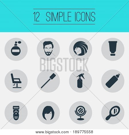 Vector Illustration Set Of Simple Hairdresser Icons. Elements Hair, Aroma, Utencil And Other Synonyms Shaver, Woman And Haircut.