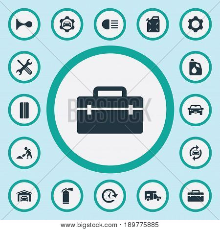 Vector Illustration Set Of Simple Car Icons. Elements Watch, Toolbox, Sprinkler And Other Synonyms Watch, Sign And Garage.