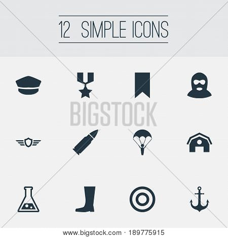 Vector Illustration Set Of Simple Terror Icons. Elements Warehouse, Wellies, Hero Reward And Other Synonyms Banner, Building And Offender.