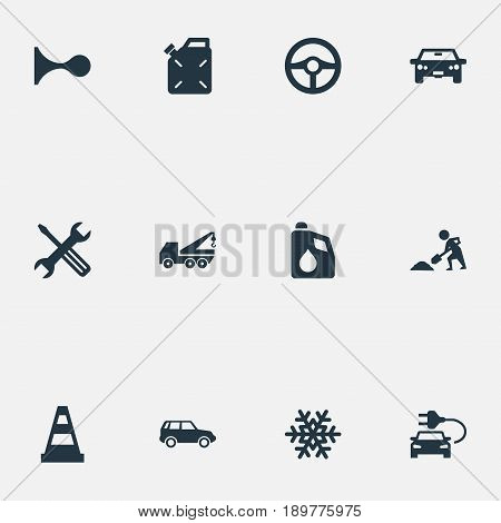 Vector Illustration Set Of Simple Vehicle Icons. Elements Caution, Auto, Diesel And Other Synonyms Cone, Machine And Alert.