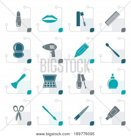 Stylized cosmetic, make up and hairdressing icons - vector icon set