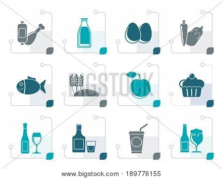 Stylized Food, drink and Aliments icons - vector icon set
