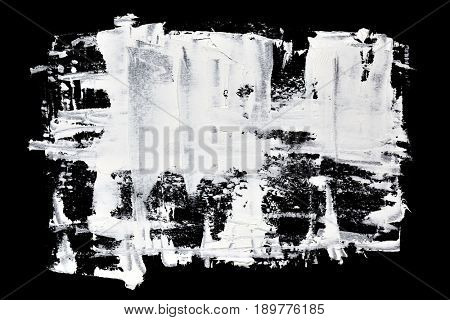 Grunge brush strokes of white oil paint - abstract background