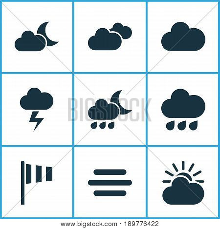 Air Icons Set. Collection Of Haze, Cloudy, Lightning And Other Elements. Also Includes Symbols Such As Vane, Moonlight, Rainy.