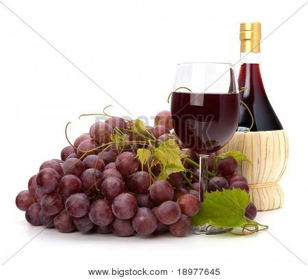 red wine glass, bottle and grape isolated on white background
