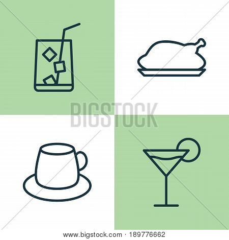 Restaurant Icons Set. Collection Of Coffee Cup, Cocktail, Lemon Juice And Other Elements. Also Includes Symbols Such As Cup, Cocktail, Roast.