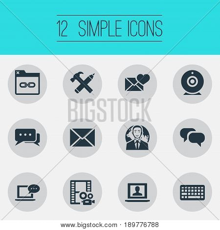 Vector Illustration Set Of Simple User Icons. Elements Valentine, International Businessman, Login And Other Synonyms Folder, Speech And Pencil.