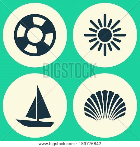 Season Icons Set. Collection Of Conch, Dinghy, Sunny And Other Elements. Also Includes Symbols Such As Ship, Sea, Shell.
