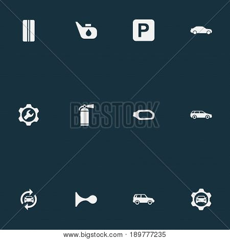 Vector Illustration Set Of Simple Vehicle Icons. Elements Road Sign, Siren, Side Mirror And Other Synonyms Cogwheel, Mirror And Alert.