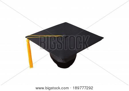 Hat graduation tassel yellow isolated white background.