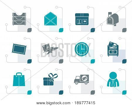 Stylized Post, correspondence and Office Icons - vector icon set