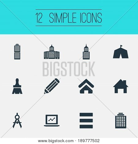 Vector Illustration Set Of Simple Construction Icons. Elements Besom, Metropolis, Hostel And Other Synonyms Library, University And Fair.
