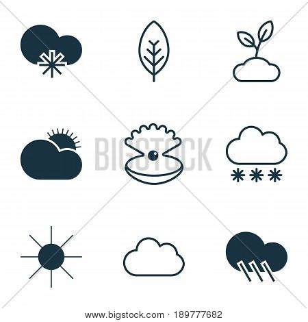 Landscape Icons Set. Collection Of Cloud, Sunshine, Sunny Weather And Other Elements. Also Includes Symbols Such As Plant, Cloudburst, Cold.
