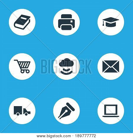Vector Illustration Set Of Simple B2B Icons. Elements Trading Purse, Truck, Printing Machine And Other Synonyms Truck, Cart And Envelope.