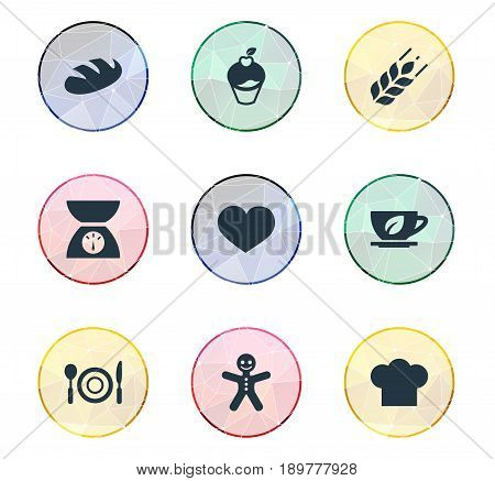 Vector Illustration Set Of Simple Preparation Icons. Elements Table Setting, Passion, Herbal Drink And Other Synonyms Tableware, Cookies And Passion.