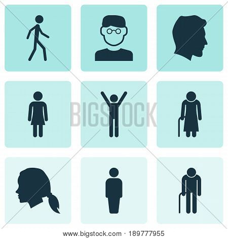 Human Icons Set. Collection Of Gentlewoman Head, Member, Grandpa Elements. Also Includes Symbols Such As Gentlewoman, Walking, Female.