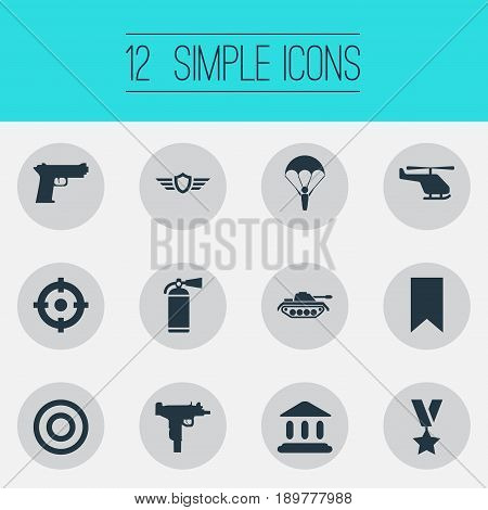 Vector Illustration Set Of Simple Army Icons. Elements Shield, Goal, Paratrooper And Other Synonyms Military, Tribunal And Bookmark.