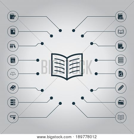 Vector Illustration Set Of Simple Books Icons. Elements Pen, Literature, Customers And Other Synonyms Checkbox, Searching And Auditory.