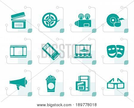 Stylized Movie theater and cinema icons - vector icon set