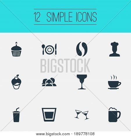 Vector Illustration Set Of Simple Cafe Icons. Elements Cafe, Cupcake, Pub And Other Synonyms Pub, Daughter And Cupcake.