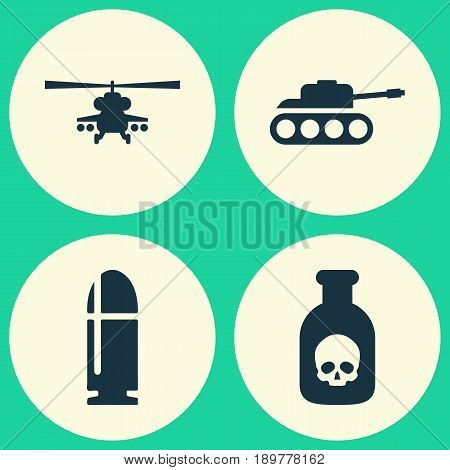 Battle Icons Set. Collection Of Chopper, Panzer, Slug And Other Elements. Also Includes Symbols Such As Panzer, Tank, Military.